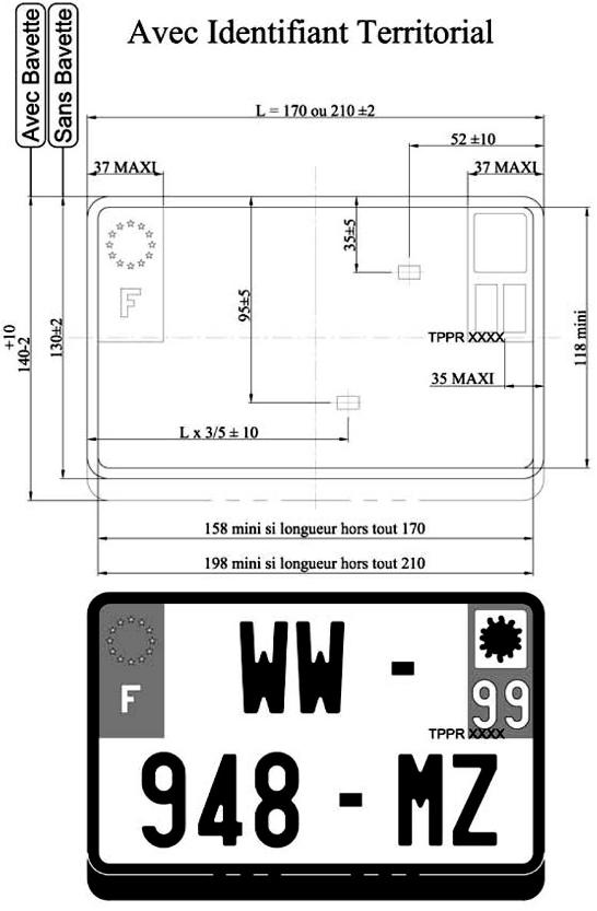 plaque immatriculation moto reglementation. Black Bedroom Furniture Sets. Home Design Ideas
