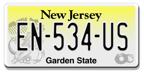 plaque d 39 immatriculation am ricaine new jersey garden state. Black Bedroom Furniture Sets. Home Design Ideas